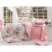Lenjerie de pat și cearșaf din bumbac poplin Clementina Pink, 200 x 220 cm