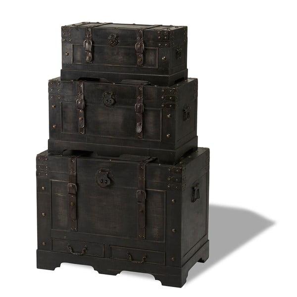 Sada 3 dřevěných dekorativních truhlic Furnhouse Trunks Straight