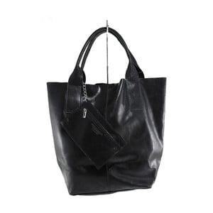 Černá kožená kabelka Chicca Borse Toti