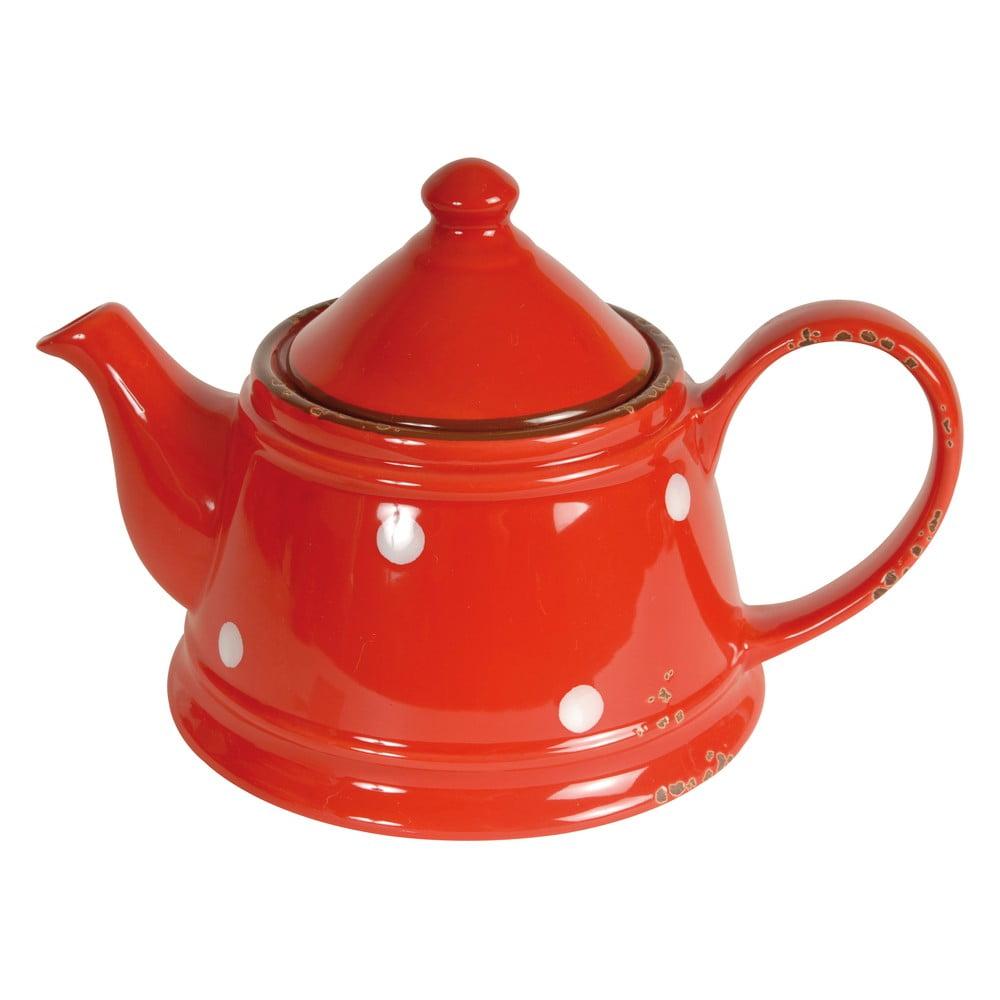 Červená konvice z porcelánu Antic Line Tea Red