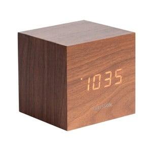 Budík v dřevěném dekoru Karlsson Mini Cube, 8 x 8 cm