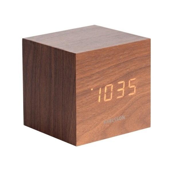 Budík v drevenom dekore Karlsson Mini Cube, 8×8 cm