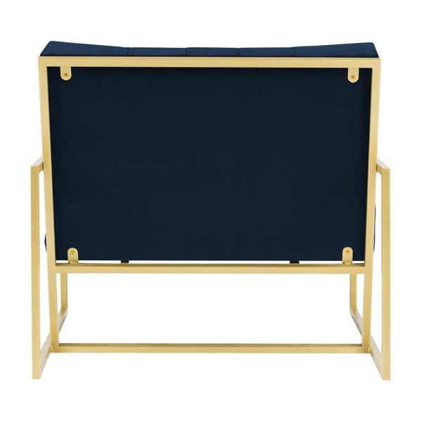 Tmavě modré křeslo s konstrukcí ve zlaté barvě Mazzini Sofas Bono