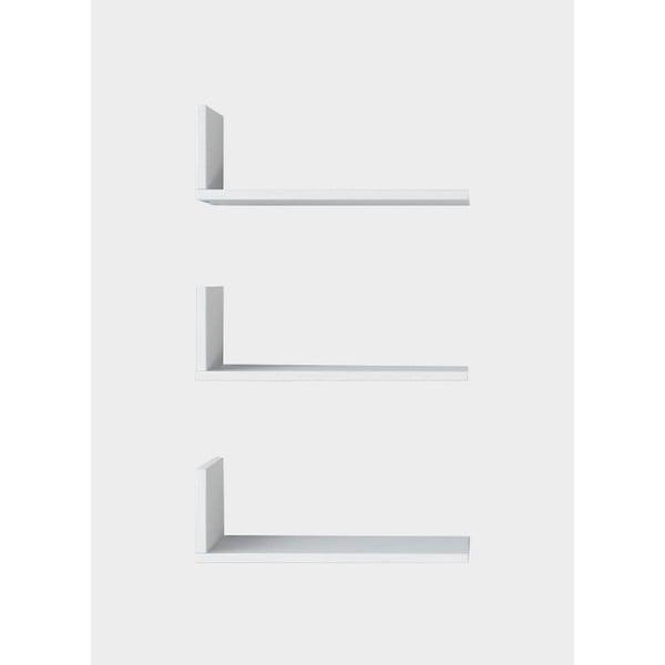 Sada 3 bílých nástěnných poliček Shelfie, šířka 40 cm