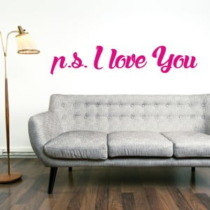 Samolepka na stěnu P.S. I Love You, růžová