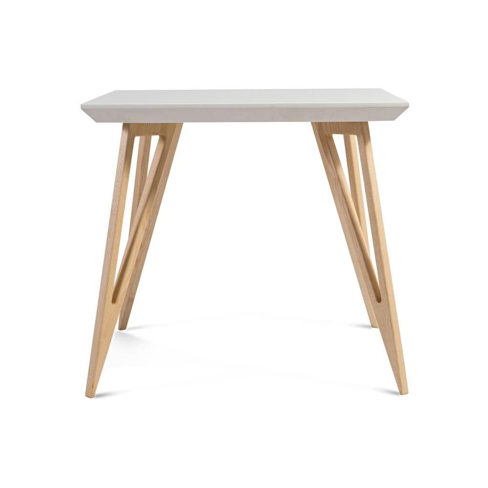 Jídelní stůl z masivního jasanového dřeva s bílou deskou Charlie Pommier Triangle, 80 x 80 cm