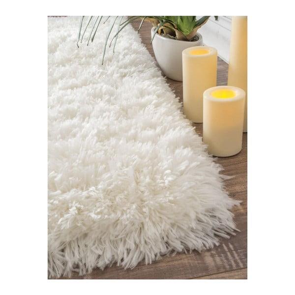 Ručně tuftovaný bílý koberec nuLOOM Fluffy White, 122x183cm