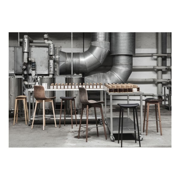 Černá barová židle  z dubového dřeva NORR11 NY11, 75x35cm