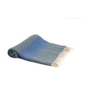 Modrá ručně tkaná osuška Ivy's Ayla, 95x180cm