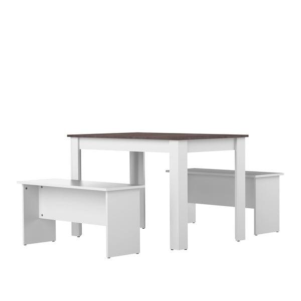 Nice fehér-szürke étkezőasztal, 2 paddal - Symbiosis