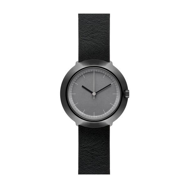 Hodinky Grey Fuji Black Leather, 43 mm