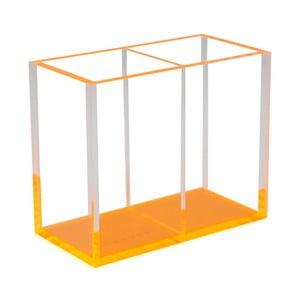 Suport pentru creioane cu 2 compartimente Lund London Flash Blocco, portocaliu