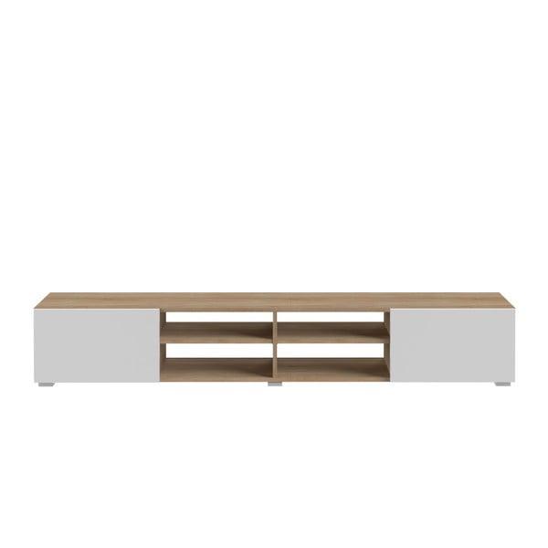 Masă TV cu aspect de lemn de stejar și ușă albă TemaHome Podium