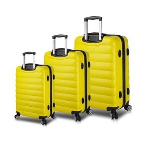 Sada 3 žlutých cestovních kufrů na kolečkách s USB porty My Valice RESSO Travel Set