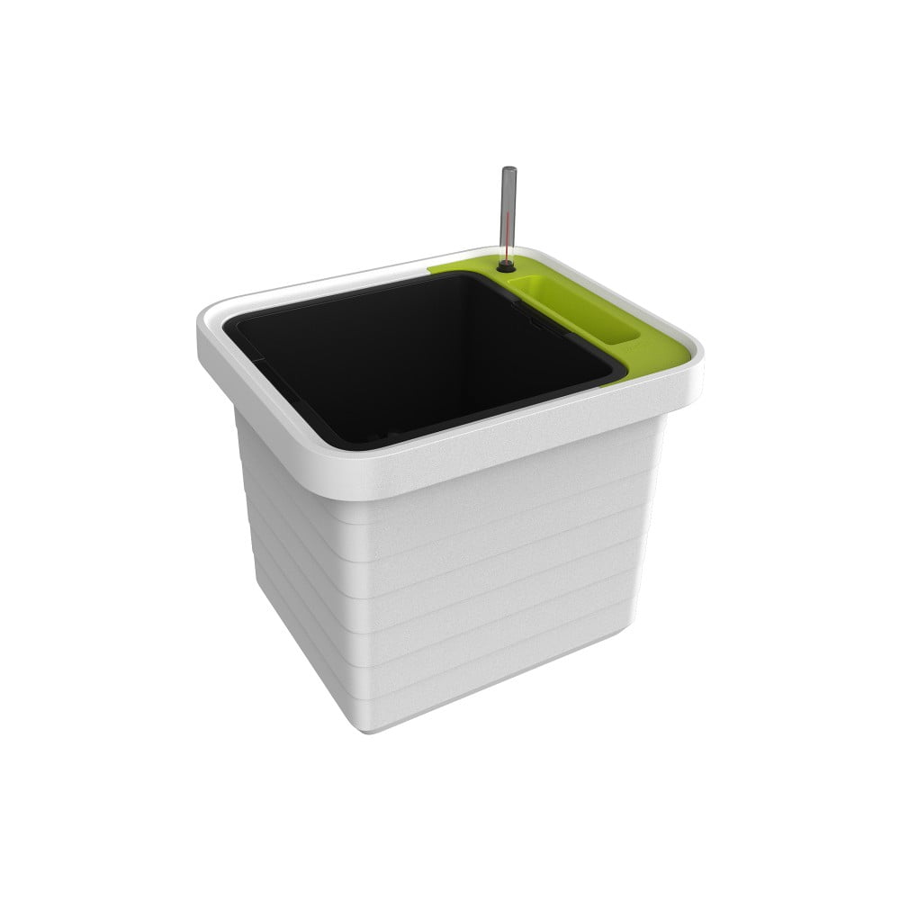 Bílo-zelený velkoobjemový samozavlažovací truhlík Plastia Berberis UNO, 27 l