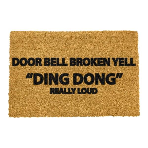 Wycieraczka z naturalnego kokosowego włókna Artsy Doormats Yell Ding Dong, 40x60 cm