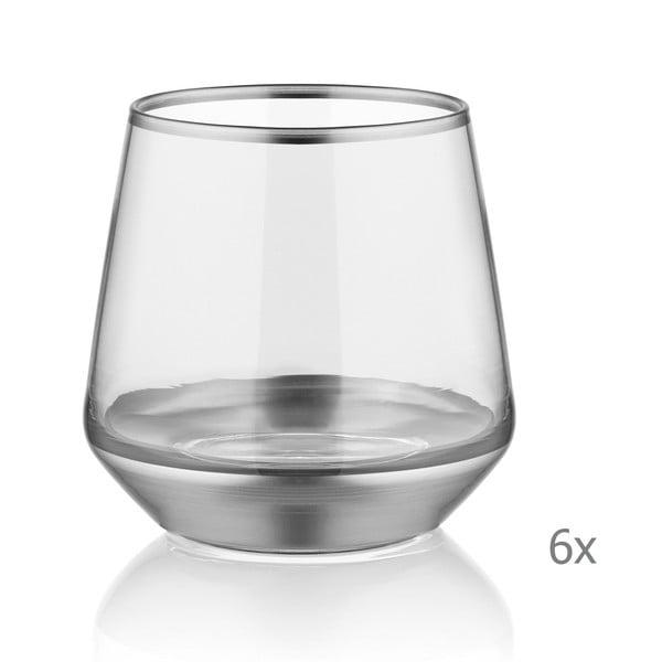 Sada 6 skleniček Mia Glam Silver, 257 ml