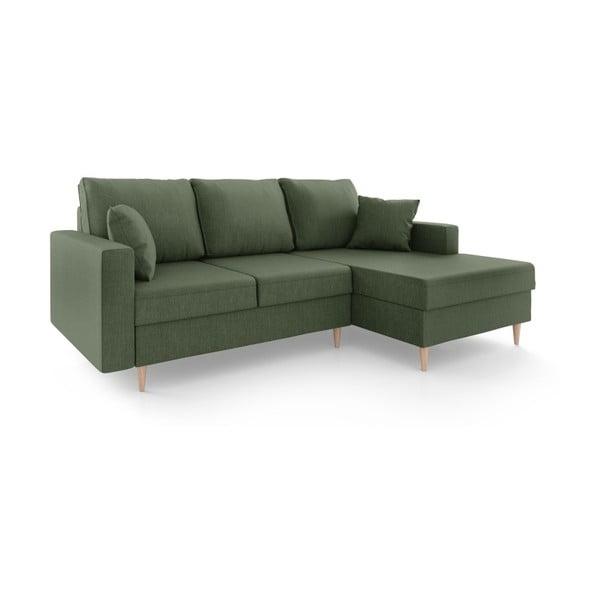 Zelená čtyřmístná rozkládací pohovka s úložným prostorem Mazzini Sofas Aubrieta, pravý roh