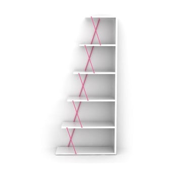 Bibliotecă Rafevi Tars Mini, alb-roz