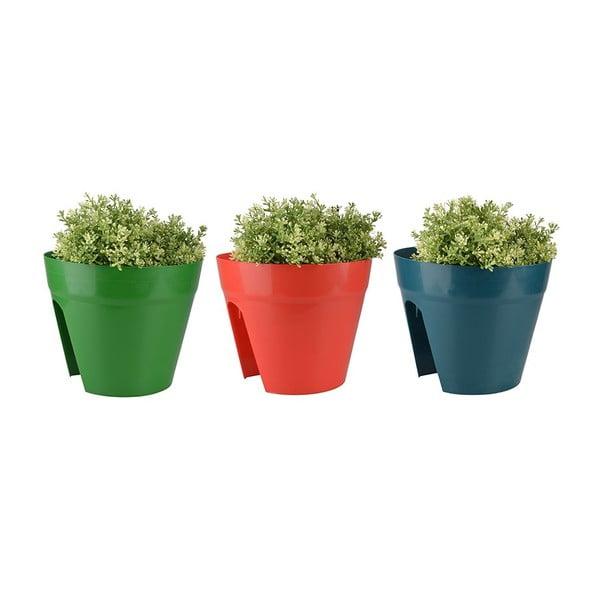 Sada 3 květináčů na zábradlí Esschert Design Happy