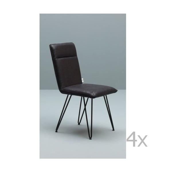 Sada 4 černých židlí s černým podnožím Design Twist Elice
