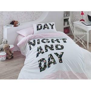 Lenjerie de pat cu cearșaf Days Pink, 160x220 cm