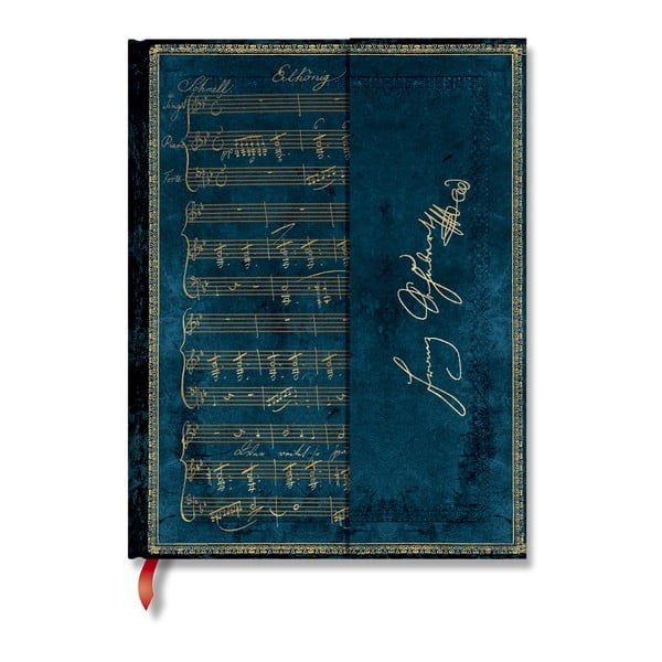 Agendă liniată, cu copertă tare Paperblanks Schubert, 144 file, albastru