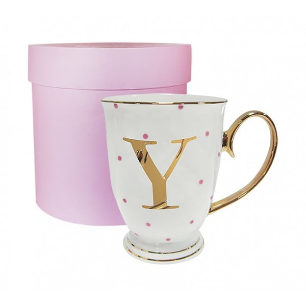 Písmenkový   hrnek Y s růžovými puntíky