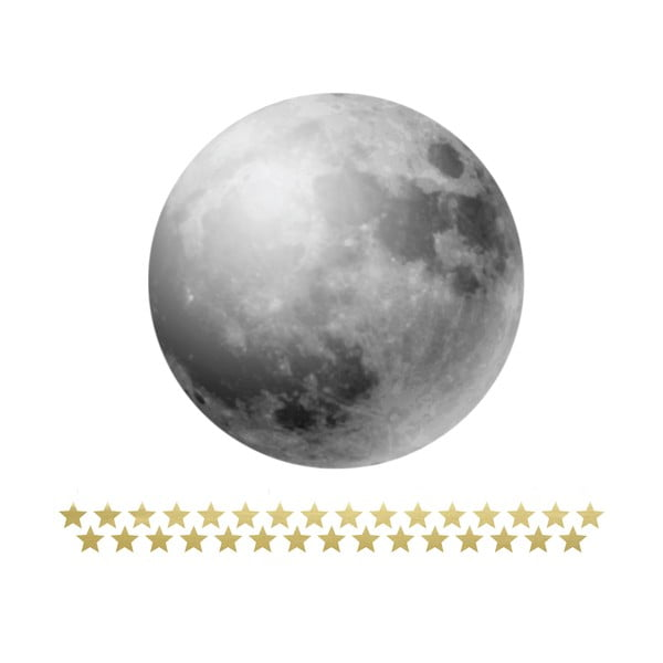 Naklejka ścienna z miarką wysokości Dekornik Full Moon