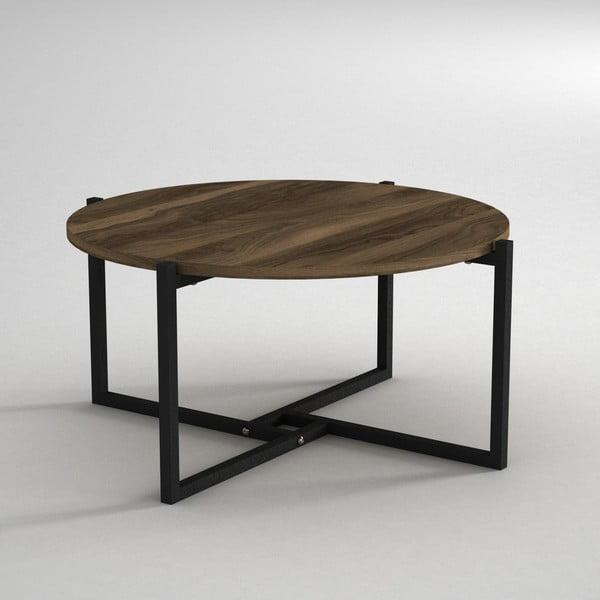 Konferenční stolek s deskou v dekoru ořechového dřeva Noce, ⌀ 68 cm