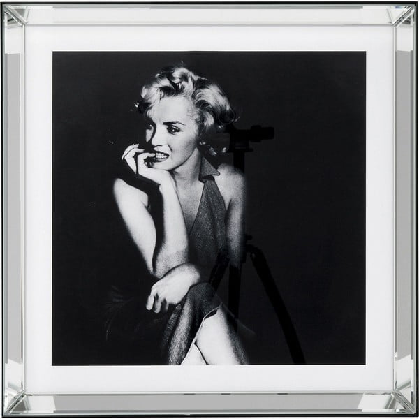 Zasklený černobílý obraz Kare Design Hollywood Diva, 60 x 60 cm