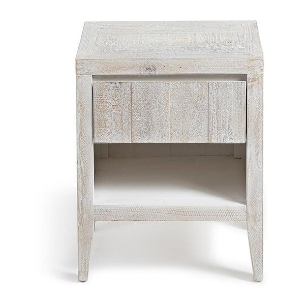 Dřevěný noční stolek s bílou patinou La Forma Woody, 35x45cm