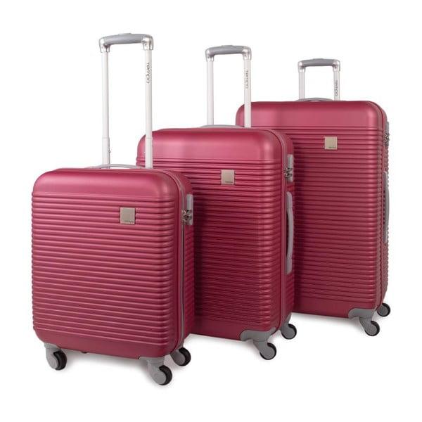 Sada tří sytě růžových cestovních kufrů Jaslen