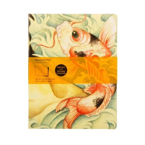 Sada 2 sešitů Moleskine Carp Fish, linkovaný