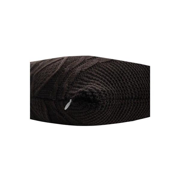 Pletený polštář Kosem 43x43 cm, tmavě hnědý