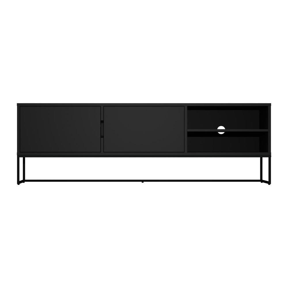 Černý TV stolek s kovovými nohami v černé barvě Tenzo Lipp, šířka 176 cm