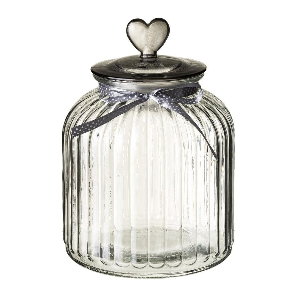 Skleněná dóza s víčkem ve stříbrné barvě Unimasa Heart, 4,2l
