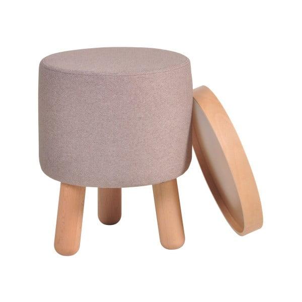 Hnědá stolička s detaily z bukového dřeva a odnímatelnou deskou Garageeight Molde, ⌀35cm