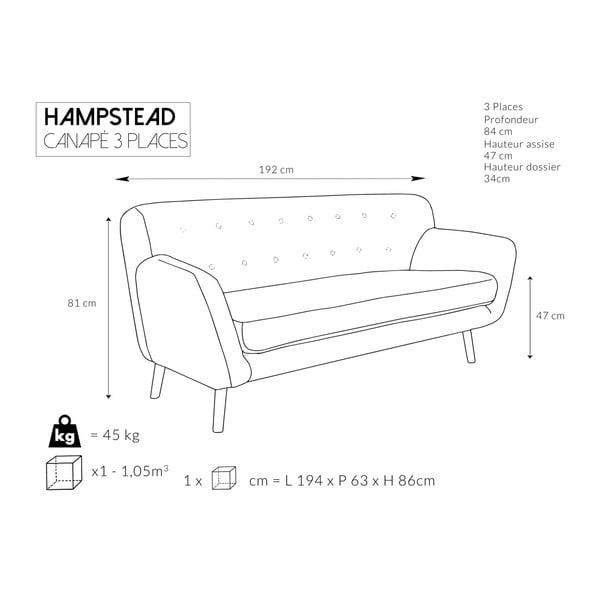 Canapea cu 3 locuri Cosmopolitan desing Hampstead, roz deschis