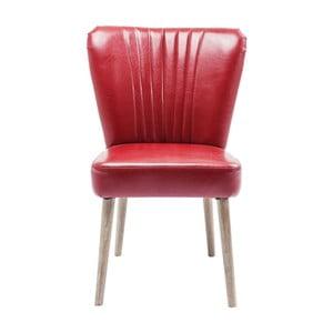Červená kožená židle s konstrukcí z jasanového dřeva Kare Design Filou