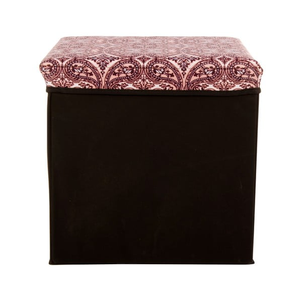 Velká úložná krabice Puff Black, 38x38 cm