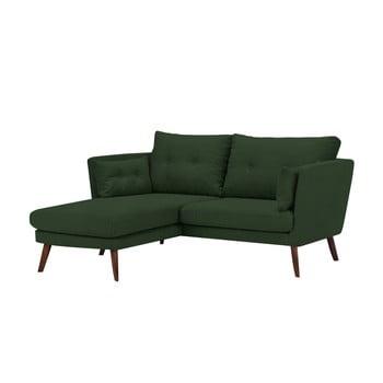 Canapea cu 3 locuri Mazzini Sofas Elena cu șezlong pe partea stângă verde