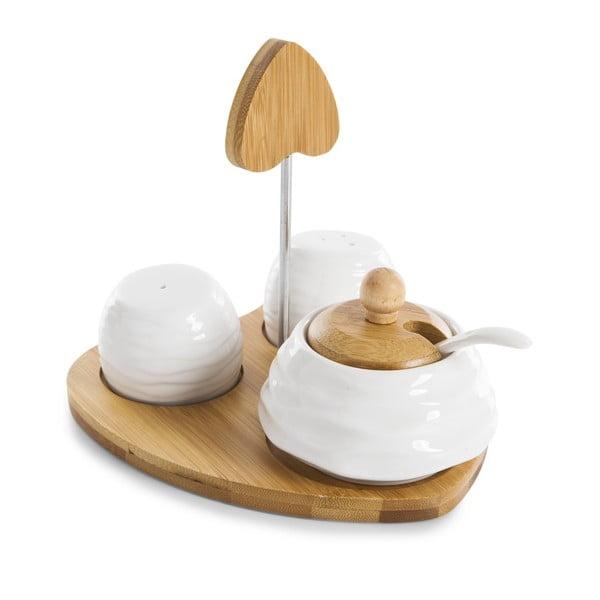 Komplet solniczki, pieprzniczki i cukierniczki na podkładce Bambum Salter
