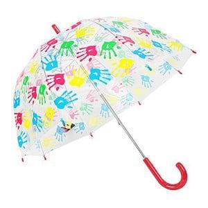 Dětský transparentní deštník s červenou rukojetí Hands Up