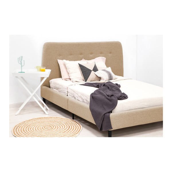 Pískově hnědá dvoulůžková postel s černými nohami Vivonita Mae, 140 x 200 cm