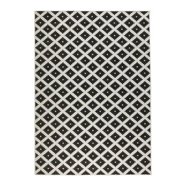 Čierno-biely vzorovaný obojstranný koberec Bougari, 160×230 cm