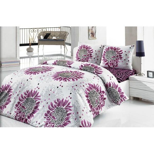 Sada povlečení a prostěradla Wild Purple Flower, 200x220 cm