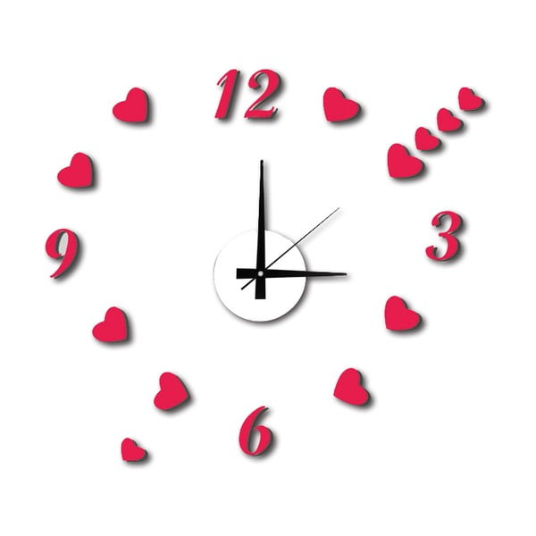 Ceas de perete autocolant Mauro Ferretti Hearts, ⌀ 50 cm