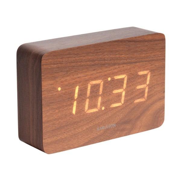 Ceas alarmă, decor lemn, Karlsson Cube, 15 x 10 cm