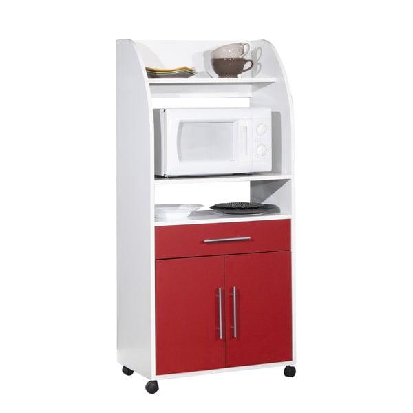 Červeno-bílý pojízdný kuchyňský úložný systém s policemi Symbiosis Jeanne